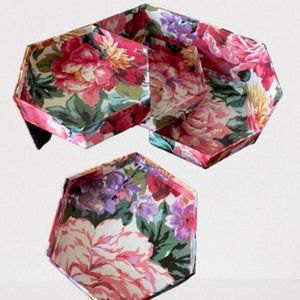 Floral Swivel Jewelry or Trinket Box 3 levels